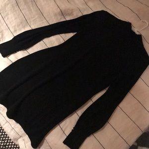 Black wool long sleeved mini dress
